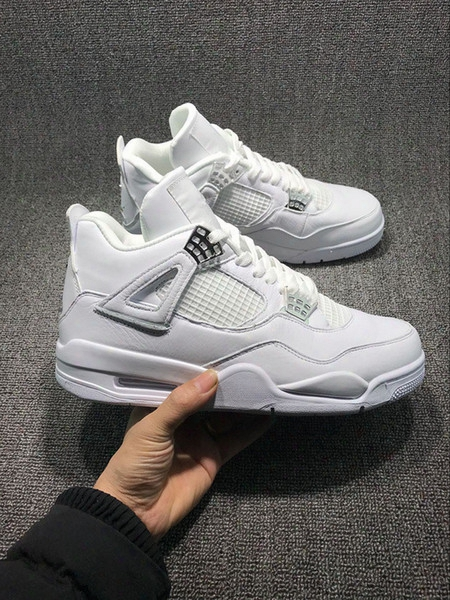 2017 New Air Retro 4 Iv Pure Money All White Silver Men Basketball Shoes Trainers Sports Sneakers Wholesale Top Quality Size 7-13