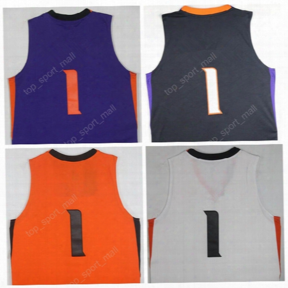 2017 New Hot Devin Booker Jersey Phoenix Basketball Jerseys Booker All Stitched Purple Orange Black White Men Free Shipping With Player Name