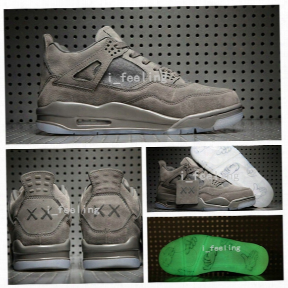 2017 New Kaws X Retro 4 Grey Basketball Shoes Limited Edition Air Retro 4s Vi Gool Grey Suede Shoes Kaws X Men Sports Sneakers Withbox