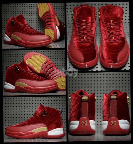 2017 New Retro 12 Men Basketball Shoes Red Velvet High Quality Retros 12s Xii Boots Sport Shoes Mens Trainers Athletic Sneakers Us 8-13