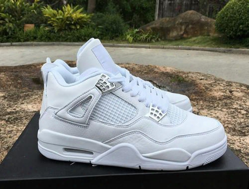 2017 New Retro 4 Pure Money White Metallic Silver Mens Basketball Shoes Men Sports Sneakers Size 41-46 High Quality With Shoes Box