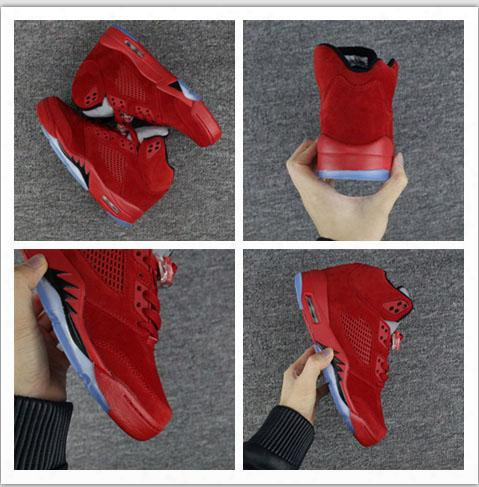2017 New Retro 5 Royal Red Suede Men Basketball Shoe Top Quality Classic 5s Mens Sports With Shoes Box