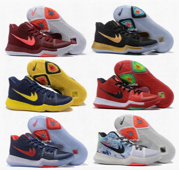 2017 New Style Kyrie Irving 3 Hot Punch Team Red Christmas Mens Basketball Shoes Top Quality Kyrie 3 Air Cushion Sport Sneakers 40-46