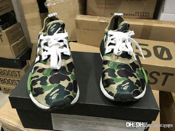 2017 Newest Super Nmd Runner R1 Green Camo Triple White Men Women Running Shoes Originals Fashion Nmd Runne Basketball Shoes