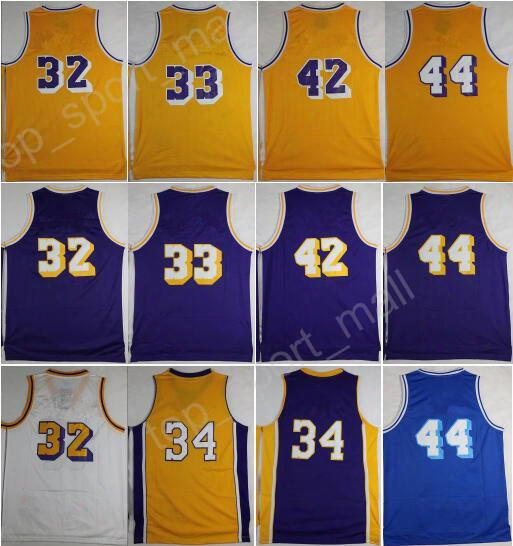 2017 Retro 32 Magic Johnson Basketball Jerseys 33 Kareem Abdul-jabbar 42 Artest Worthy 44 Jerry West 34 Shaquille Oneal With Player Name