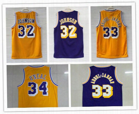 2017 Retro 32 Magic Johnson Jersey Throwback 33 Kareem Abdul Jabbar Shirt Abdul-jabbar 34 Shaquille Oneal Basketball Jersey 100% Embroidered