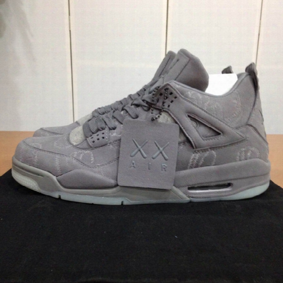 2017 Retro 4 Kaws X Men Kaws Xx Cool Grey Glow Basketball Shoes 4s Suede Sneakers High Quality Come With Shoes Box