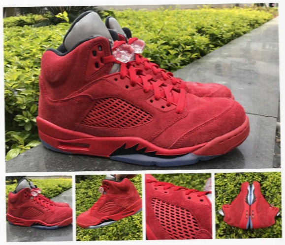 "2017 Retro 5 ""raging Bull"" 3m Men Basket Ball Shoes Black-university Red Air Retro 5s ""red Suede"" Sneakers Sports Shoes With Original Box"