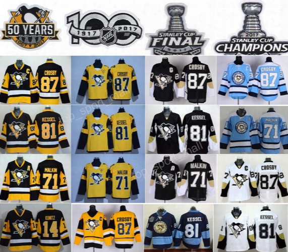 2017 Stanley Cup Final Pittsburgh Penguins 87 Sidney Crosby Jersey 14 Chris Kunitz 71 Evgeni Malkin 81 Phil Kessel 50 Years 100th Champions