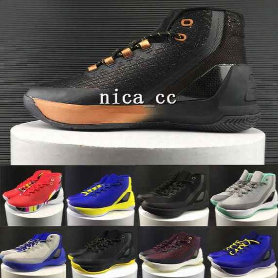 2017 Stephen Purple Curry 3 Men Basketball Shoe High Top Copper Black Grey Red Pink White Curry Iii Gs Sport Sneakers Size Us7-us12