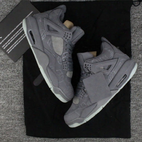 2017 With Box Mens Retro Kaws X Air 4 Basketball Shoes Sneakers Fire Red Pure Money White Us7-us13 Men Outdoor Athletics Shoes