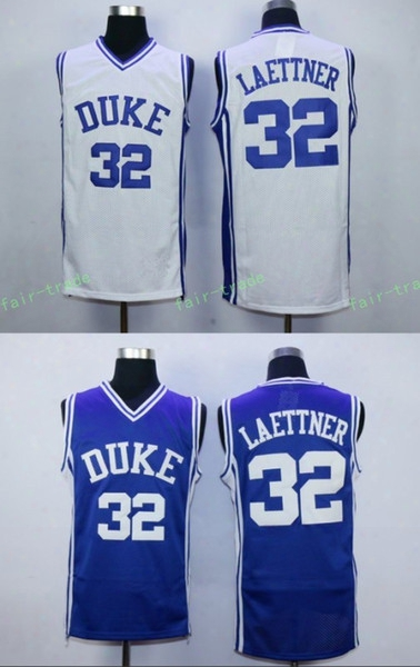 #32 Christian Laettner Jersey, Duke Blue Devils College Jersey Inhabitant Of Christendom Laettner Men's 100% Stitched Embroidery Logos Basketball Jerseys