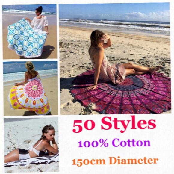 50 Styles 150cm Diameter 100% Cotton Round Beach Towel With Tassels Summer Swimming Sunbath Towels Lady Toallas Playa Serviette De Bain