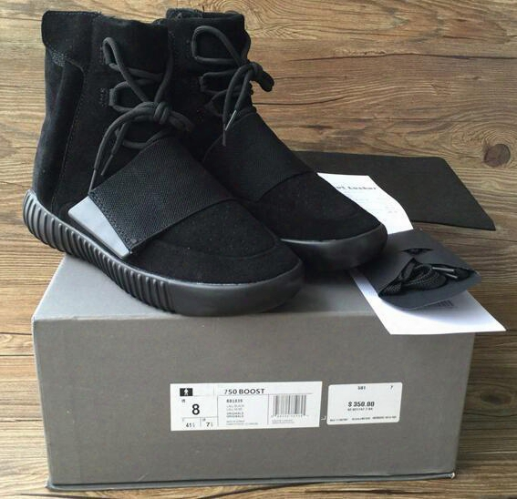 750 Boost Light Grey Glow In The Dark Kanye West Leather Boots Men's Sport Runnnig Shoes(with Receipt Laces Dust Bags Boxes)