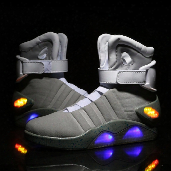 Air Mag Back Future Led Shoes High Top Marty Mcfly Colorful Led Shoes For Men Luxury Grey Black Charger Mag Limited Edition Sneaker