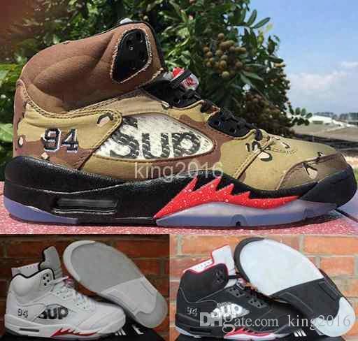Air Retro 5 V Supreme X Sup Basketball Shoes For Men,high Quality Edition Camo Black White Retros 5s Sneakers Supreme Shoe 8-13