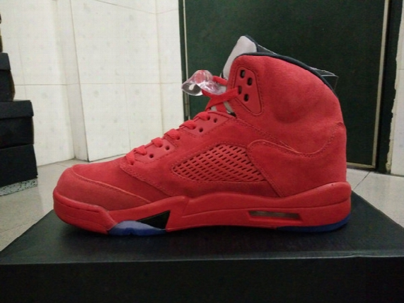 Basketball Shoes 2017 Retro 5s Red Suede Men Athletic Shoes Retail Wholesale 136027-602