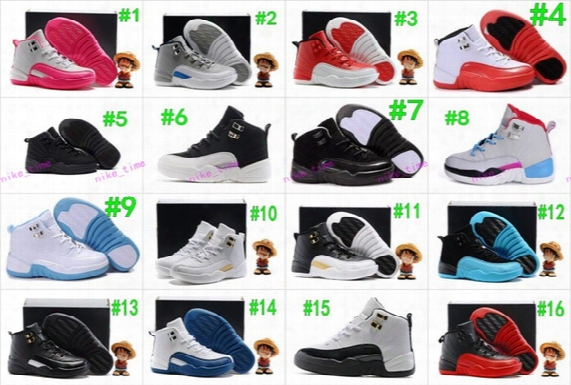 Boys Girls Retro 12 Kids Basketball Shoes Childrens 12s Gym Red 12s Barons Wolf Grey French Blue Sports Shoes Toddlers Birthday Gift