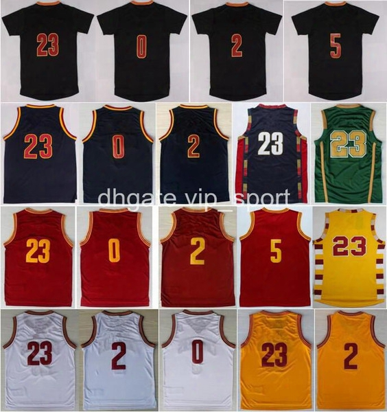Cheap 2 Kyrie Irving Jersey Men Throwback 23 Lebron James 0 Kevin Love Basketball Jerseys Sale Red White Yellow Navy Blue With Player Name