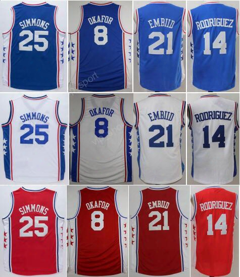 Cheap 25 Ben Simmons Jersey Men 8 Jahlil Okafor 21 Joel Embiid Basketball Jerseys 14 Sergio Rodriguez Embroidery Color Team Red Blue White