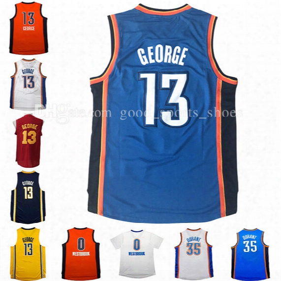 Cheap Men's New 13# Paul George Jersey 35# Kevin Durant Jersey 0# Russell Westbrook Basketball Jerseys 100% Stitched Free Fast Shipping