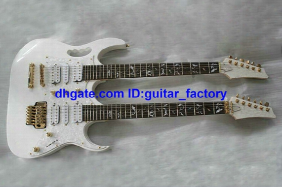 Custom Double Neck Electric Guitar In White Tree Of Life Fingerboard Mosaic 6 Strings And 6 Strings