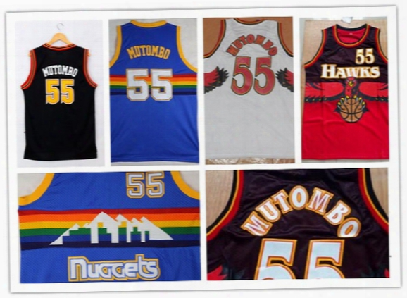 Dikembe Mutombo 55 Vintage Red White Jerseys Denver Rainbow Blue Black Embroidered / Stitched Jerseys High Quality Sports Basketball Jerseys
