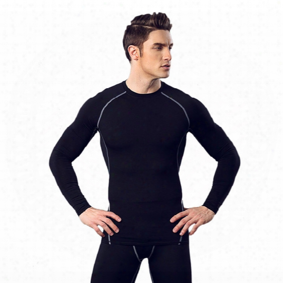 Fitness Suit Men Basketball Running Training Clothes Elastic Compression Fast Drying Sports Tights Loong - Sleeved Trousers Suit