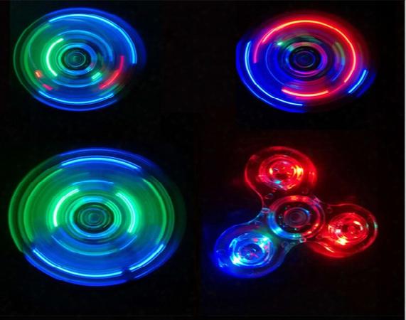 Handspinner Light Up Hand Spinners Led Bright Fidget Spinner Triangle Finger Spinner Transparent Crystal Colorful Decompression Toys #fg093