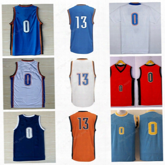 High 0 Russell Westbrook Jersey Ucla Bruins College Throwback Basketball 13 Paul George Jerseys Home Blue White Orange With Player Name