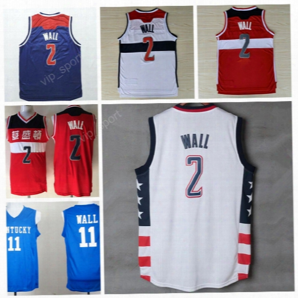High 2 John Wall Jersey Men Throwback Kentucky Wildcats College 11 John Wall Basketball Jerseys Vintage Stitched Navy Blue Red White