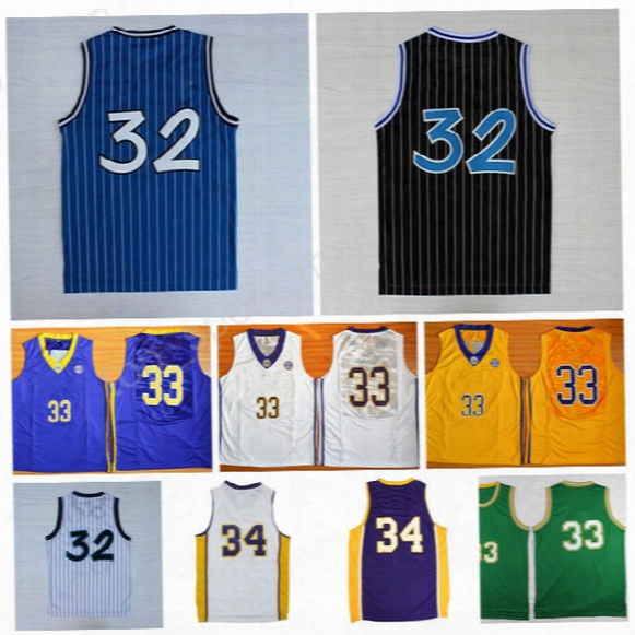 High 32 Shaquille Oneal Jersey Men 34 Shaquille O Neal 33 Onsal Throwback Basketball Jerseys College Yellow Purple White With Mimic Name