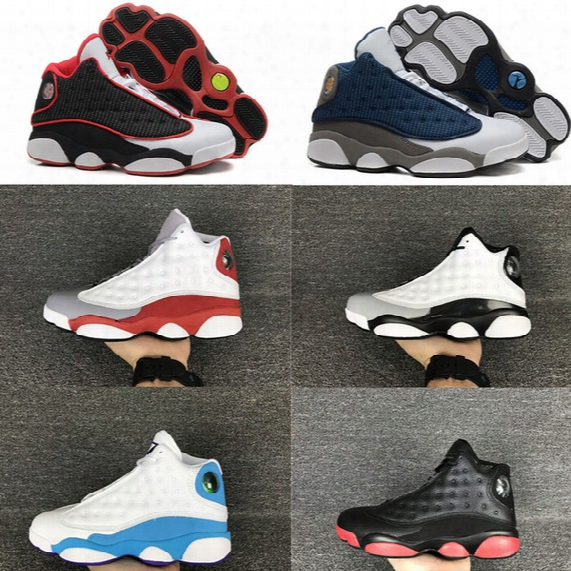 High Quality 13s Basketball Shoes Leather 13s Black Toe 13s Bred Navy Game Grey Toe Flint Grey Sneakers Free Shipping