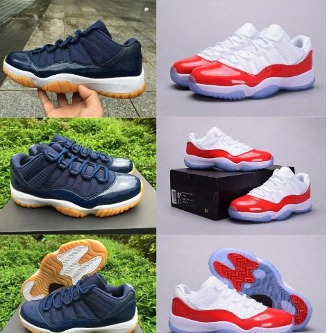 High Quality Air Retro 11 Man Basketball Shoes Low Navy Gum Blue White Varsity Red Men's Sneakers Sports Shoes Athletics Boots