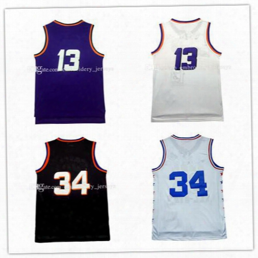 High Quality Cheap Men's #13 Steve Nash Jersey Throwback Mesh Charles Barkley #34 Jersey 100% Stitched Embroidered Logo Free Shipping