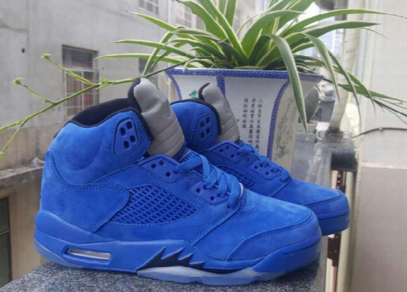 High Quality Men Retro 5 V Raging Bull Red Suede Tongue Reflect Basketball Shoes Retro 5s Bull Blue Sneakers Shoes Free Shipping