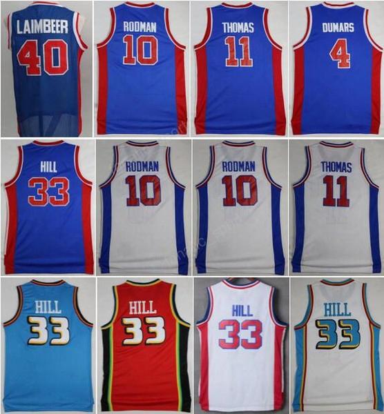 Hot Sale 11 Isiah Thomas Jersey Men 40 Bill Laimbeer 10 Dennis Rodman Basketball Jerseys 4 Joe Dumars 33 Grant Hill Throwback Blue White