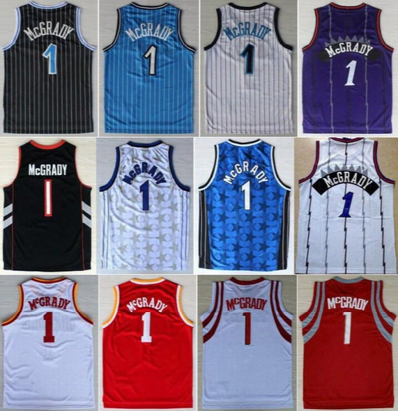 Hottest Men 1 Tracy Mcgrady Jersey Throwback Cheap Mcgrady Vintage Basketball Jerseys Retro All Stitching Black Blue White Purple Red