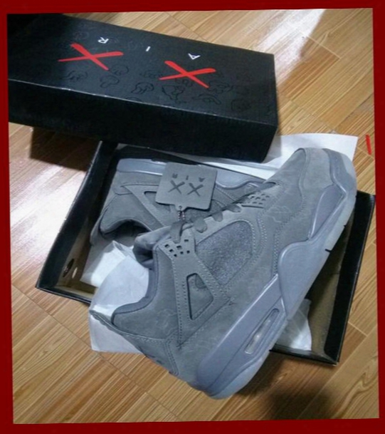 Kaws X Air 4 Retro Xx Kaws Cool Grey Black Suede Sampl White Glow Best Quality With Box White Wholesale Basketball Shoes Sports Shoes