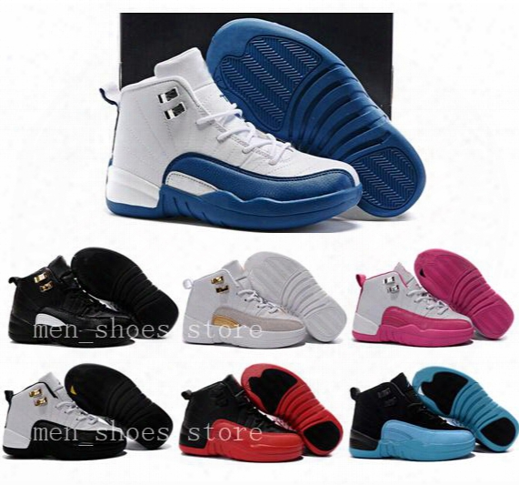 Kids 12s Shoes Children Basketball Shoes Boys Girls 12s French Blue The Master 12s Taxi Sports Shoes Toddlers Birthday Gift