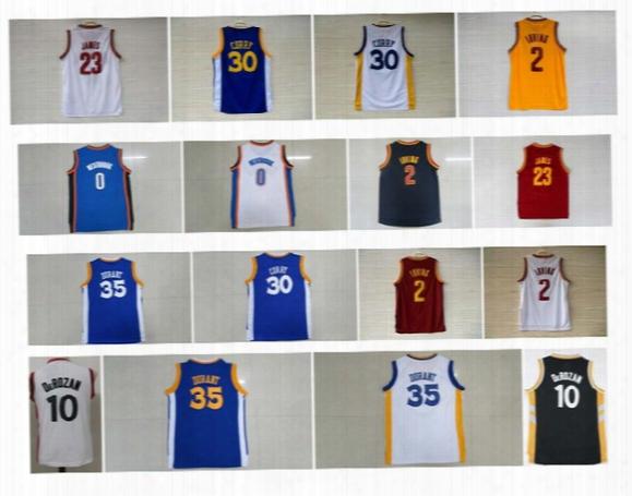 Kids 30 Stephen Curry Jersey 0 Russell Westbrook 35 Kevin Durant 2 Kyrie Irving 23 Lebron James Shirt Demar Derozan Youth Basketball Jerseys