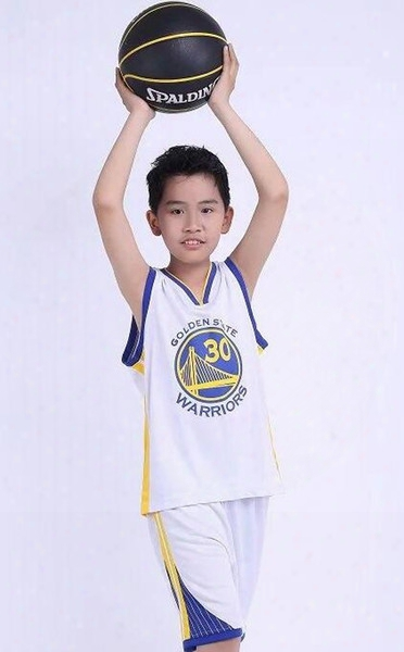 Kids Warriors Team No. 30 Curry Basketball Dress Set Kids Competition Training Appearances Jerseys 50244 Free Shipping 1 Suit