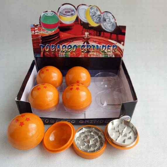 Latest 3layers Dragonball Dragon Ball Herb Grinder Metal Zinc Alloy Smoke Tobacco Smoking 55mm With Display Box For Glass Bon Water Pipe