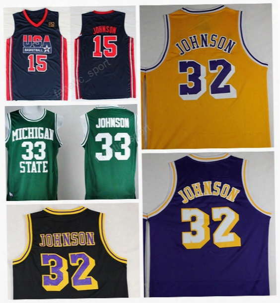 Men 32 Magic Johnson Jersey Throwback Basketball Michigan State Spartans Johnson College Jersey 1992 Usa Dream Team Hardwood Classics