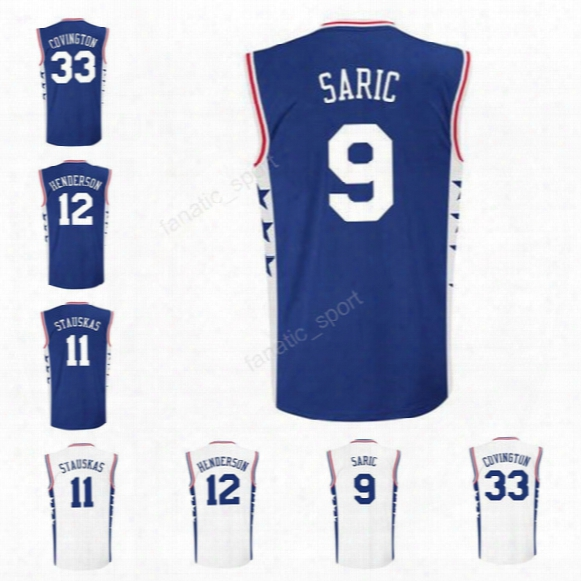 Men 9 Dario Saric Jersey Printed Basketball 11 Nik Stauskas 12 Gerald Henderson 33 Robert Covington Jerseys Sports Blue White High Quality