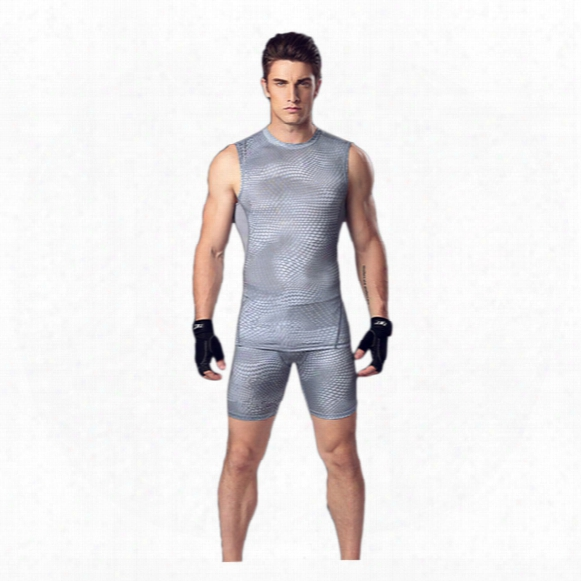 Men 's Body Suit Vest Shorts Basketball Running Training Clothes Elastic Compression Fast - Drying Sports Tights Suit