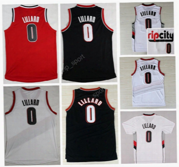Men Sport 0 Damian Lillard Jersey Rip City Ripcity Damian Lillard Basketball Jerseys Black White Red Color All Stitched Free Shipping