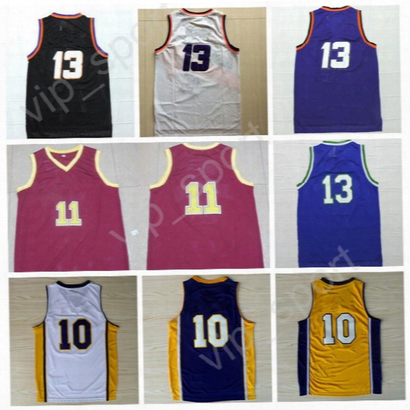 Men Throwback 13 Steve Nash Jersey Cheap 10 Steve Nash Basketball Jerseys Vintage Stitched Black Blue Yellow Purple White With Player Name