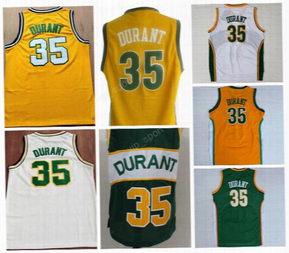 Men Throwback Seattle Supersonics Jerseys 35 Kevin Durant Jersey Super Sonics For Sport Fans Color Yellow Green White