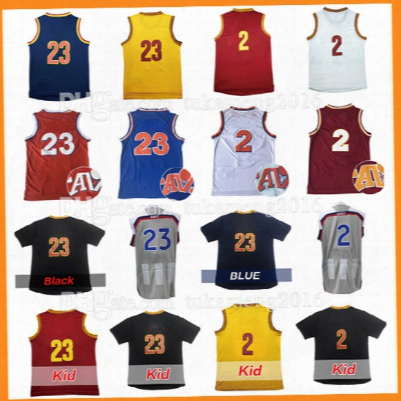 Men's 23 Lebron 2 Kyrie Irving Jamesbasketball Jerseys Stitched 2017 All Star Christmas Kevin Loveâthrowback Jersey Sleeve Tshirt Youth Kid